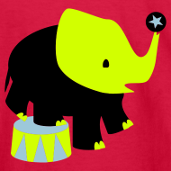 Design ~ KKT 'Circus Elephant, 3 Color' Kids' LS Tee, Red