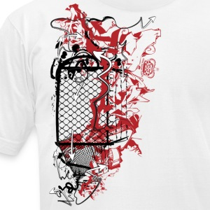 White cool designer graffiti fence art T-Shirts - Men's T-Shirt by American Apparel