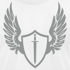 White Cool warrior shield with wings T-Shirts