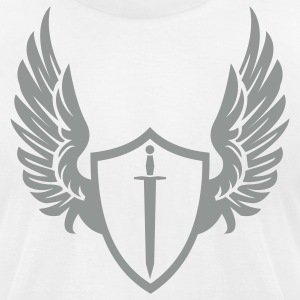 White Cool warrior shield with wings T-Shirts - Men's T-Shirt by American Apparel