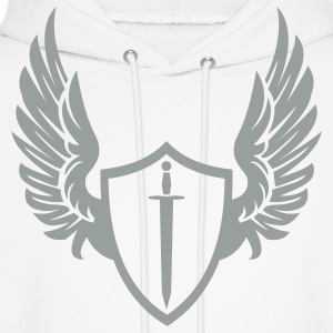 White Cool warrior shield with wings Hoodies - Men's Hoodie