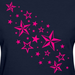 Navy Cascading Nautical Stars Women's T-Shirts - Women's T-Shirt