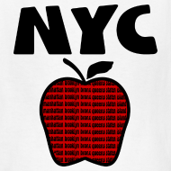 Design ~ KKT 'NYC, Big Apple With Boroughs, DIGITAL DIRECT' Kids' Tee, White