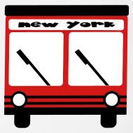 Design ~ KKT 'NY Hybrid Bus, Red' Baby SS One Piece Tee, White