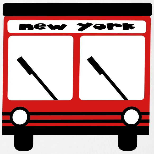 KKT 'NY Hybrid Bus, Red' Baby SS One Piece Tee, White