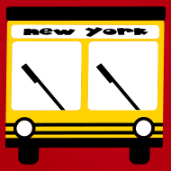 Design ~ KKT 'NY Hybrid Bus, Yellow' Baby SS One Piece Tee, Red