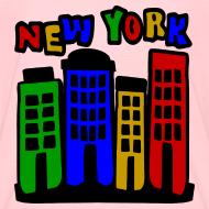 Design ~ KKT 'New York Multi-Color, 4 Brownstones' Kids' Tee, Orange