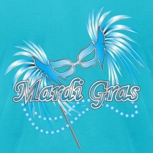 Turquoise Blue Mardi Gras Mask T-Shirts - Men's T-Shirt by American Apparel