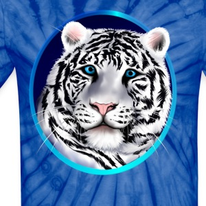 Framed White Tiger Face - Unisex Tie Dye T-Shirt