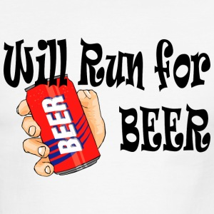 White/black Will Run for Beer T-Shirts - Men's Ringer T-Shirt
