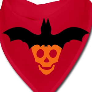 Red halloween skull and bat on top Other - Bandana