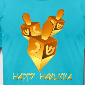 Happy Hanukkah Dreidels - Men's T-Shirt by American Apparel
