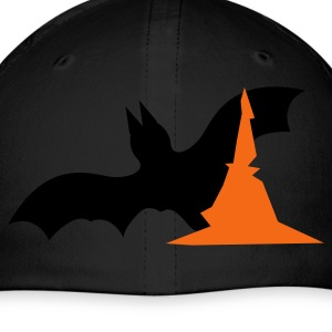 Royal blue Halloween bat with witches hat  Caps - Baseball Cap