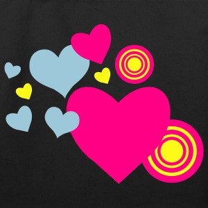Black love hearts and targets Bags  - Eco-Friendly Cotton Tote