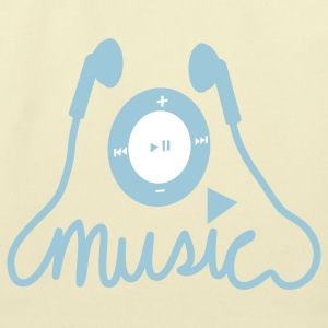 Creme music ipod likeness with earphones  Bags  - Eco-Friendly Cotton Tote