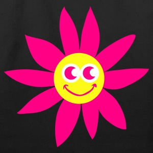 Black smiling sunflower with face Bags  - Eco-Friendly Cotton Tote