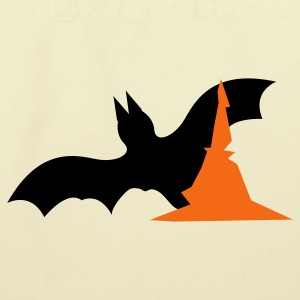 Creme Halloween bat with witches hat  Bags  - Eco-Friendly Cotton Tote