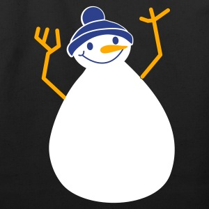 Black winter snowman hands up! Bags  - Eco-Friendly Cotton Tote