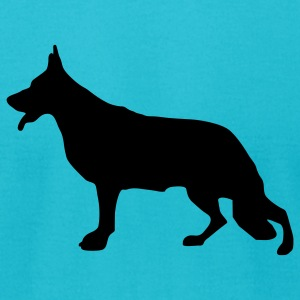 Turquoise German Shepherd Dog T-Shirts - Men's T-Shirt by American Apparel