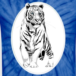 Framed Stately White Tiger - Unisex Tie Dye T-Shirt