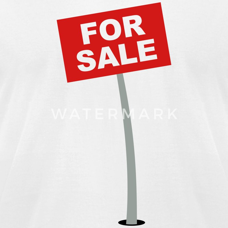 White For Sale Sign T-Shirts - Men's T-Shirt by American Apparel