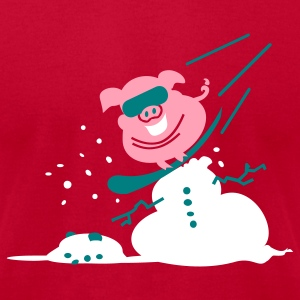 Aqua pig kills snowman snowboard 3c T-Shirts - Men's T-Shirt by American Apparel