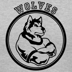 Gray Wolf or wolves Custom Teams Graphic Women's T-Shirts - Women's V-Neck T-Shirt