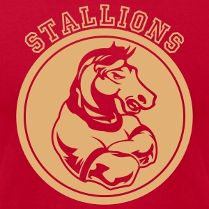 Brown Stallions or Stallion Team Graphic T-Shirts - Men's T-Shirt by American Apparel