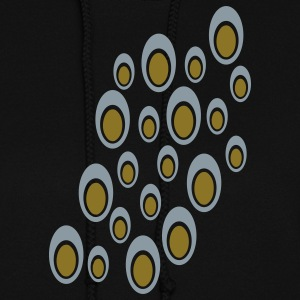 Black Random Double Ovals With Cut Outs, Large, Diagonal Hoodies - Women's Hoodie