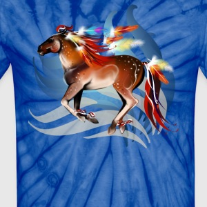 Horse N Bright Feathers - Unisex Tie Dye T-Shirt