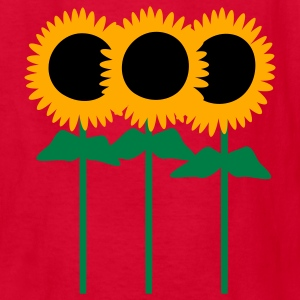 Red Three Cute Sunflowers With Stem And Leaves Kids' Shirts - Kids' T-Shirt
