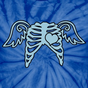 Spider navy rib cage angel wings and love heart T-Shirts - Unisex Tie Dye T-Shirt
