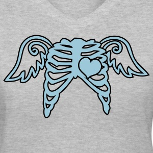 Gray rib cage angel wings and love heart Women's T-Shirts - Women's V-Neck T-Shirt