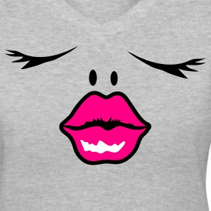 Gray face with pouty lips  Women's T-Shirts - Women's V-Neck T-Shirt