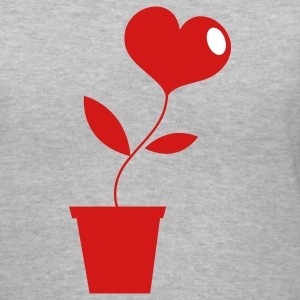 Gray Growing LOVE heart pot plant ! Women's T-Shirts - Women's V-Neck T-Shirt