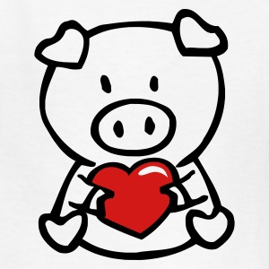 White oink with heart Kids' Shirts - Kids' T-Shirt