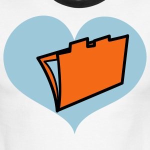 Chocolate/tan computer office file in love heart accounting T-Shirts - Men's Ringer T-Shirt
