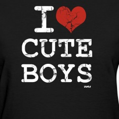 Black i love cute boys vintage white by wam Women's T-Shirts