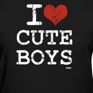Black i love cute boys vintage white by wam Women's T-Shirts - Women's T-Shirt
