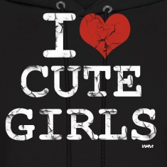 Black i love cute girls vintage white by wam Hoodies