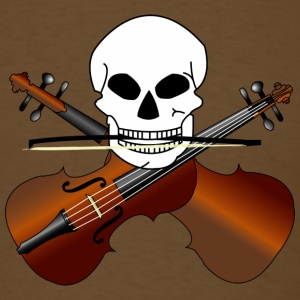 "Mens Violin T-shirt ""music skull"" 