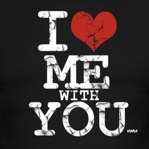 Black/white i love me with you white by wam T-Shirts - Men's Ringer T-Shirt