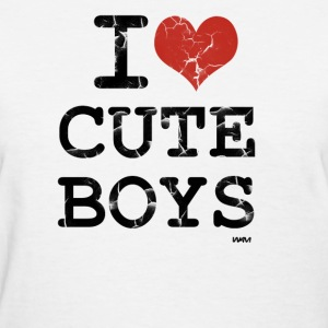 White i love cute boys vintage by wam Women's T-Shirts - Women's T-Shirt