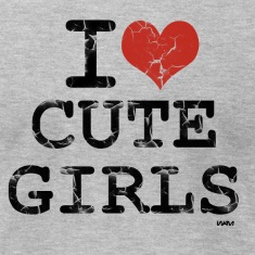 Heather grey i love cute girls vintage by wam T-Shirts