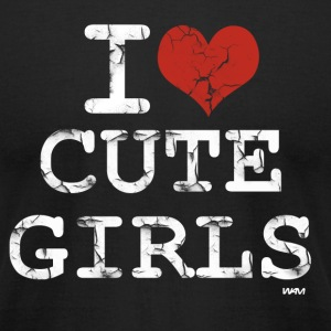 Black i love cute girls vintage white by wam T-Shirts - Men's T-Shirt by American Apparel