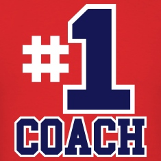 Red Number One Coach Two Color Design T-Shirts
