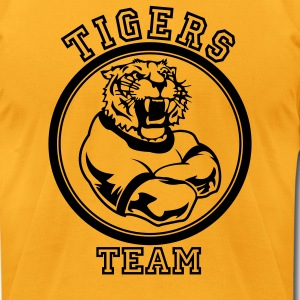 Gold Custom Tigers Mascot T-Shirts - Men's T-Shirt by American Apparel