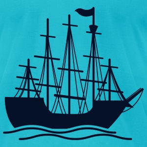 Turquoise pirate ship on the ocean waves T-Shirts - Men's T-Shirt by American Apparel