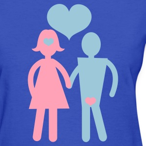 Light blue couple holding hands with love hearts Women's T-Shirts - Women's T-Shirt