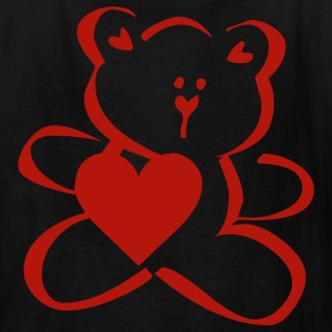 Black TEDDY HEART (vector) Kids' Shirts - Kids' T-Shirt